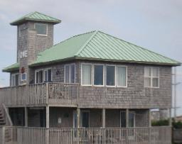 Patina Green Metal Roof done by Maddox Metal Roofing, Kitty Hawk NC